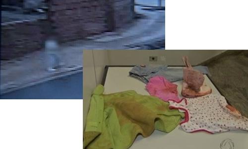 Acima, criança andando nas ruas sozinha, abaixo, as roupas que ela usava sujas de terra (Foto: Reprodução Tv Morena)