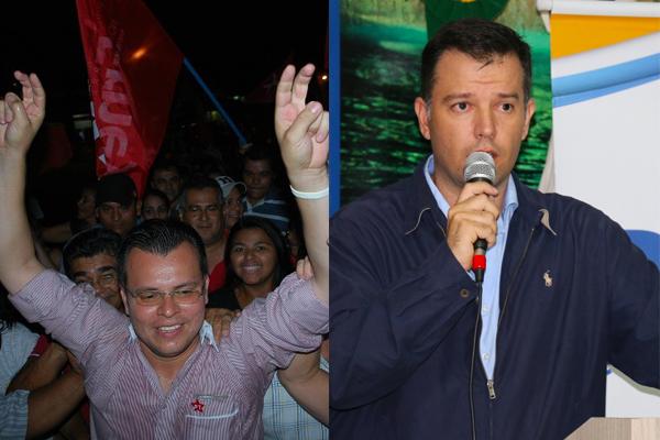 Prefeito Erney Barbosa (PT) à esquerda e o vereador Guilherme Monteiro (PSDB) à direita