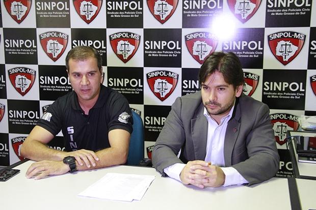 Paulo Queiroz vice presidente da Sinpol-MS e Giancarlo Miranda presidente do Sinpol-MS/Foto: wanderson Lara