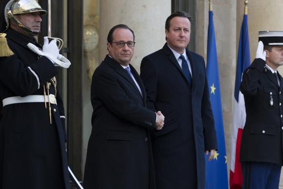 O presidente francês, François Hollande, e o primeiro-ministro britânico, David Cameron/Foto: Agência Lusa