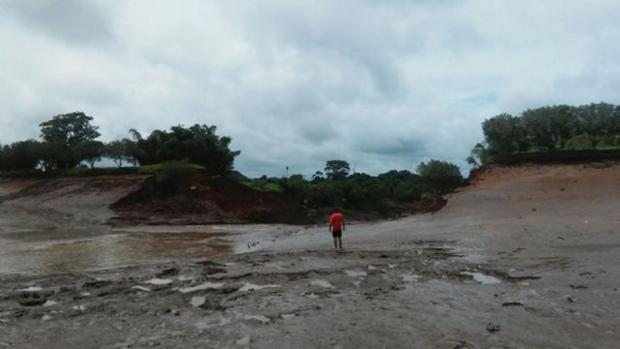 Balneário fica vazio depois de rompimento de barragem/Foto: Caarapó News