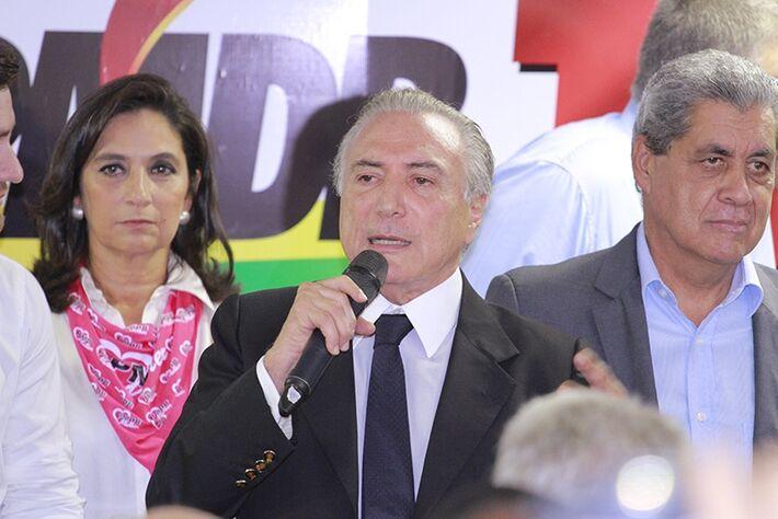 Vice-presidente Michel Temer em discuso na sede do PMDB