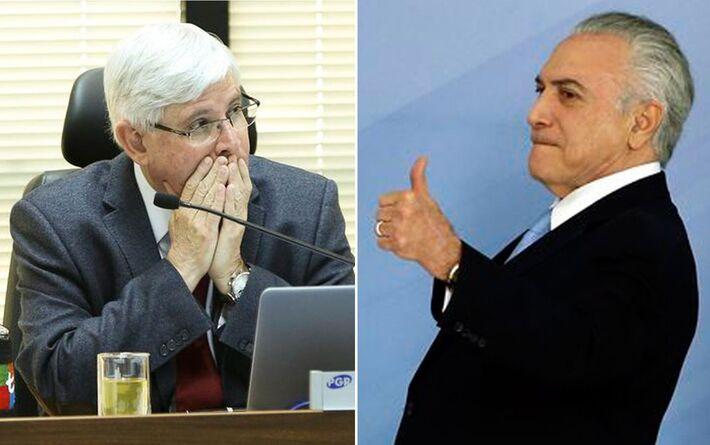 Montagem mostra o procurador-geral da República, Rodrigo Janot (esq.), e o presidente Michel Temer (dir.)