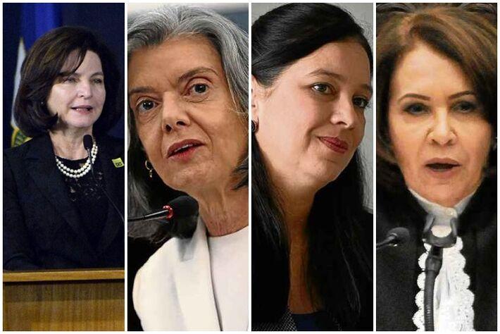 Da esquerda para a direita: Raquel Dodge, procuradora-geral da República; Cármen Lúcia, presidente do STF, Grace Mendonça, advogada-geral da União e Laurita Vaz, presidente do STJ
