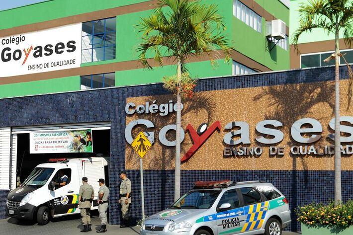 Fachada do Colégio Goyases, onde dois alunos foram mortos a tiros por outro aluno