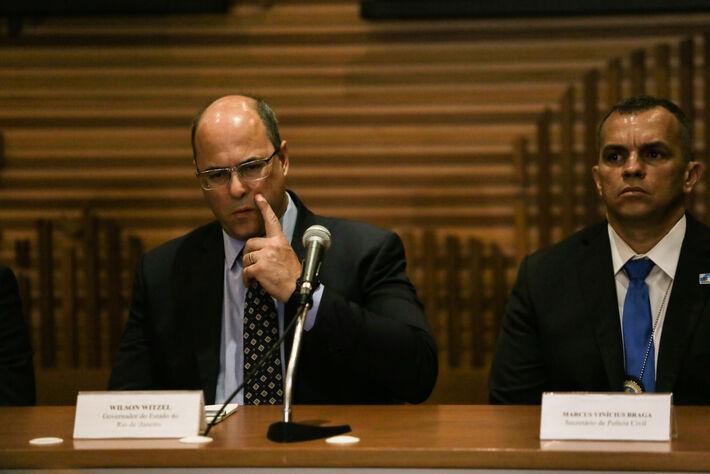 O governador do Rio, Wilson Witzel, e o delegado Giniton Lages