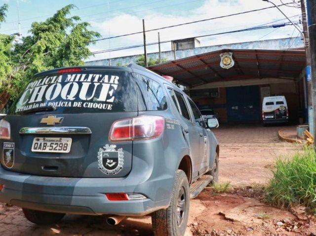 Policiais do Batalhão de Choque dão apoio a operação no Presídio de Segurança Máxima