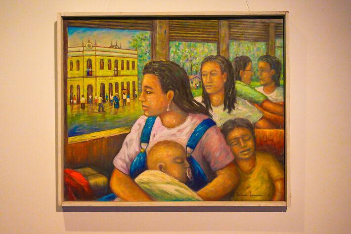 A mostra apresenta uma pintura de Lídia Baís