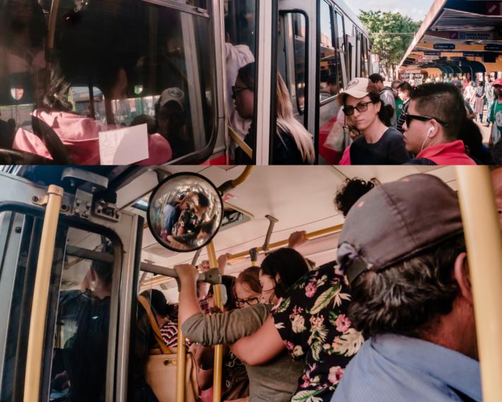 Passageiros se apertam para pegar ônibus