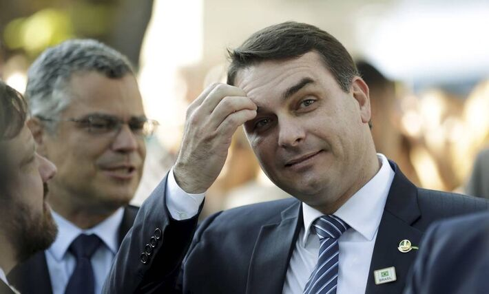 O senador Flávio Bolsonaro durante evento no Rio 06/05/2019