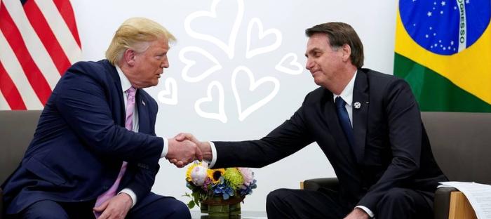 rump e Bolsonaro, durante reunião bilateral durante o G-20, no Japão