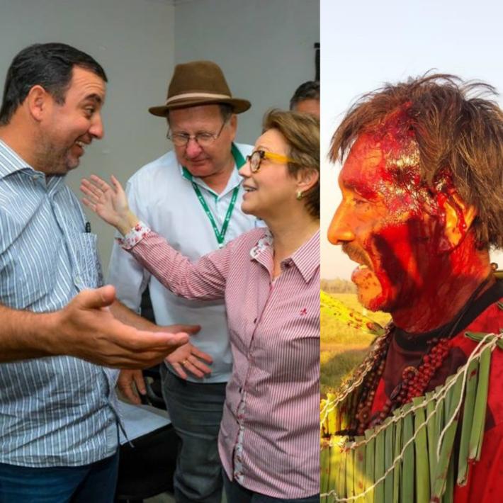 Tereza Cristina abraça o prefeito, a direita índio sangrando após violência policial na quinta-feira