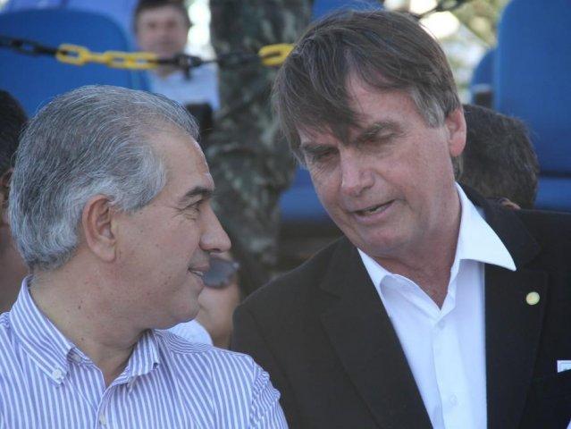 O governador Reinaldo Azambuja e Jair Bolsonaro