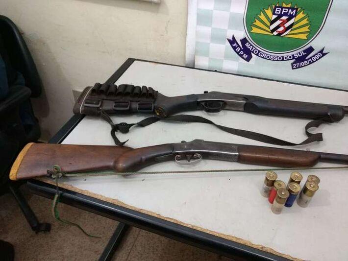 Armas apreendidas pela PM em Macaúba