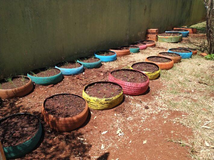 Projeto Horta com Pneus busca proporcionar uma alimentação saudável, práticas de plantio e cultivo, além da reciclagem