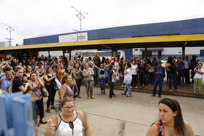 Manifestação no Terminal Morenão, na sexta-feira.