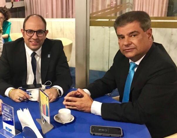 O reitor da UFMS, Marcelo Turine e senador, Nelsinho Trad
