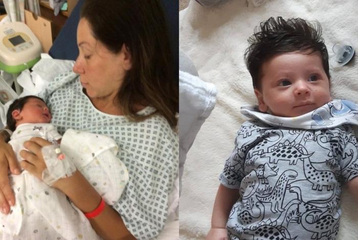 Bebê cabeludo, Oscar, precisou cortar as madeixas aos dois meses de vida; a família o apelidou de Mogli, o menino lobo -