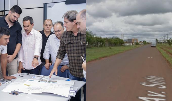 O prefeito de Campo Grande, Marquinhos Trad (PSD) na entrega a do projeto à Caixa