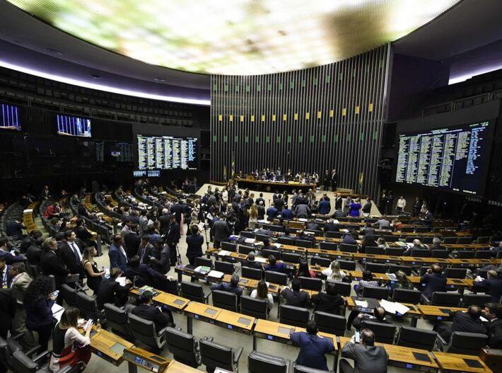 Plenário da Câmara dos Deputados durante sessão conjunta do Congresso Nacional