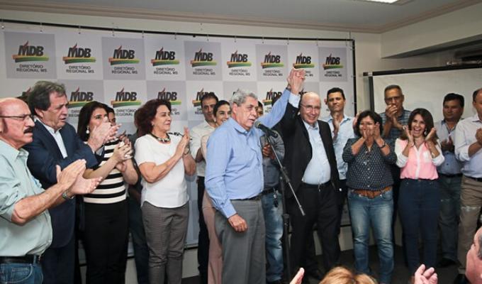 O ex-governador André Puccinelli, colegas de sigla e a militância
