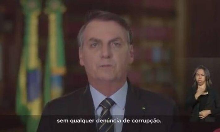 Jair Bolsonaro durante pronunciamento de Natal em cadeia nacional de TV
