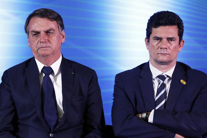 Jair Bolsonaro e o ministro da Justiça Sérgio Moro