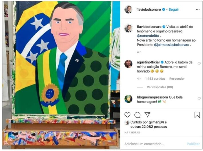 Imagem compartilhada por Flavio Bolsonaro mostra retrato ainda não concluído do presidente