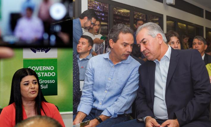 O prefeito Marquinhos Trad e o governador Reinaldo Azambuja (à direita *1). Rose Modesto (à esquerda *2).