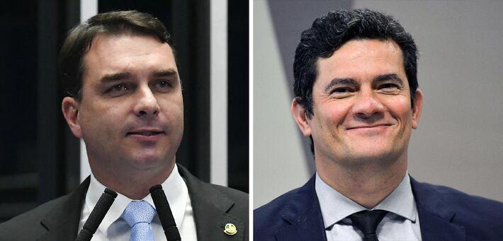 Flávio Bolsonaro e Sérgio Moro