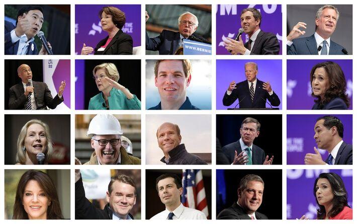 Os 20 pré-candidatos classificados para os debates e que irão concorrer à nomeação do Partido Democrata para as eleições presidenciais de 2020 nos Estados Unidos