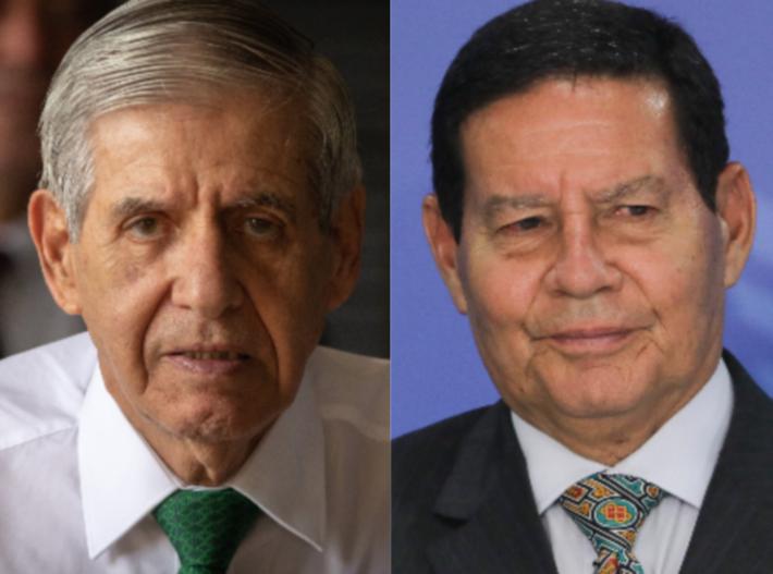 O ministro Augusto Heleno (esq.) e o vice-presidente Hamilton Mourão (dir.) tiveram suas imagens usadas na convocação da manifestação
