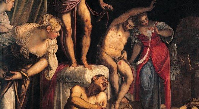 Mulheres cuidando das feridas dos afetados pela peste, em uma pintura de Jacopo Robusti, 1549