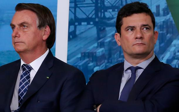 O ministro da Justiça, Sergio Moro e Jair Bolsonaro