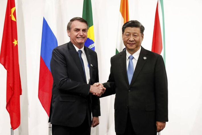 Jair Bolsonaro e o presidente da China, Xi Jinping