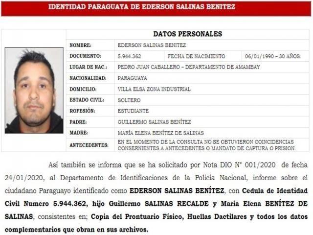 Identidade paraguaia de Ederson Salinas Benitez anexada ao processo aberto no Brasil, após briga de trânsito