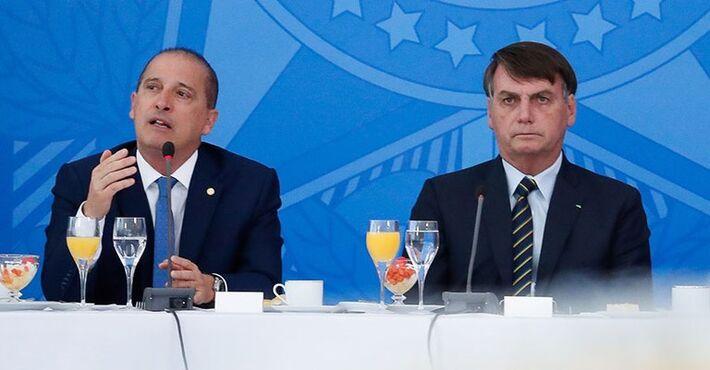 O ministro Onyx Lorenzoni e Jaire Bolsonaro.