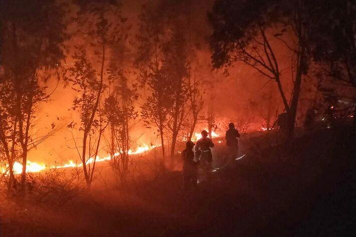 Bombeiros enfrentam incêndio florestal na província de Sichuan