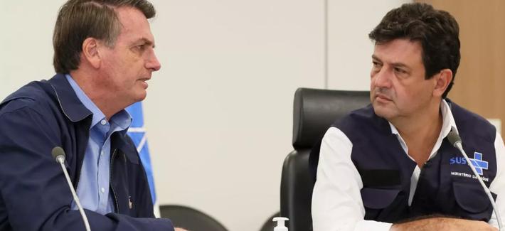 air Bolsonaro e o Ministro da Saúde, Luiz Henrique Mandetta, durante Videoconferência com a Frente Nacional de Prefeitos