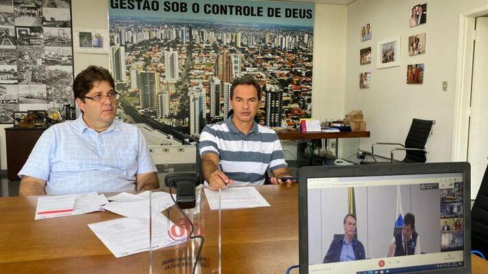 Marquinhos fez vídeoconferência com o presidente e Luiz Henrique Mandetta