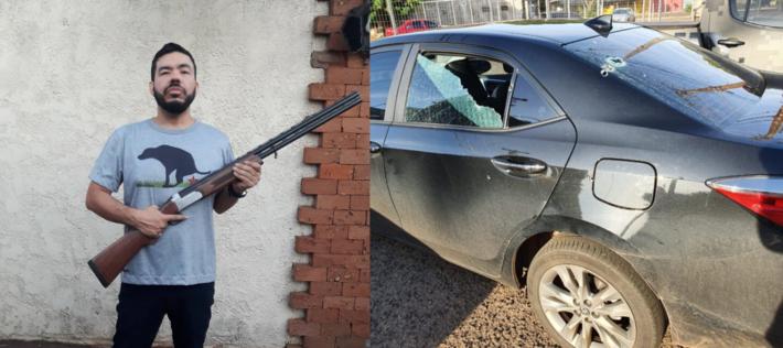 Trutis e o suposto carro alvejado por tiros na manhã deste domingo (16.fev.2020)