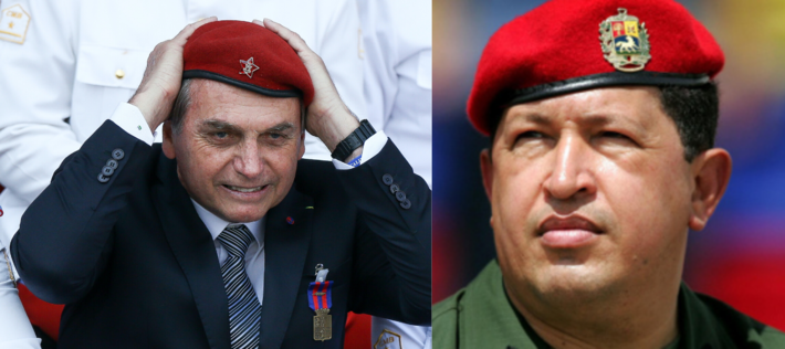 O presidente Jair Bolsonaro e o falecido, presidente venezuelano, Hugo Cháves