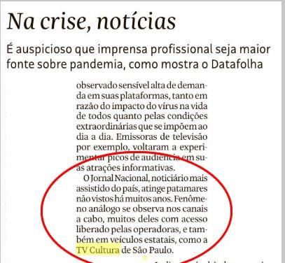 Trecho  do editorial  da Folha de São Paulo 27/03 destacando a imprensa e a TV Pública.