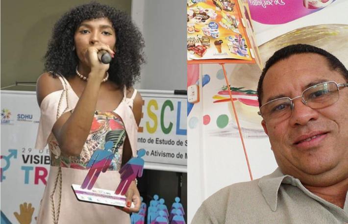 O ex-vereador Félix Alves e a advogada transexual Alanys Matheusa