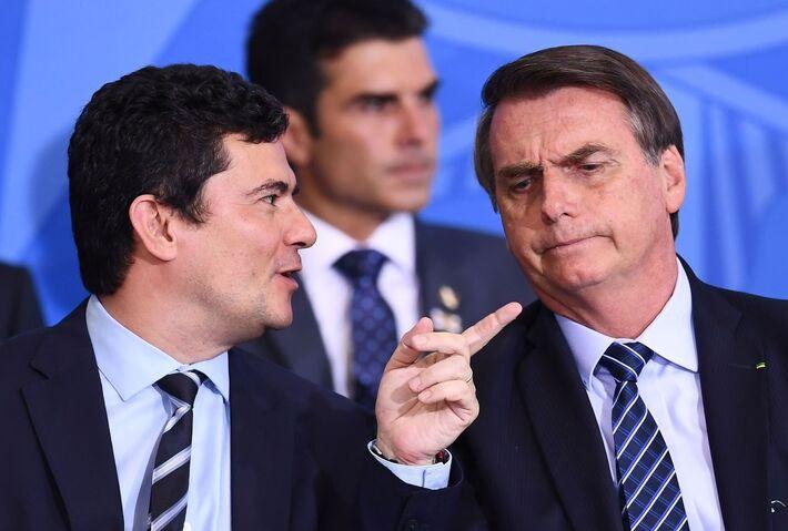 O ex-ministro Sergio Moro e o presidente Jair Bolsonaro, em um evento em Brasília em 2019