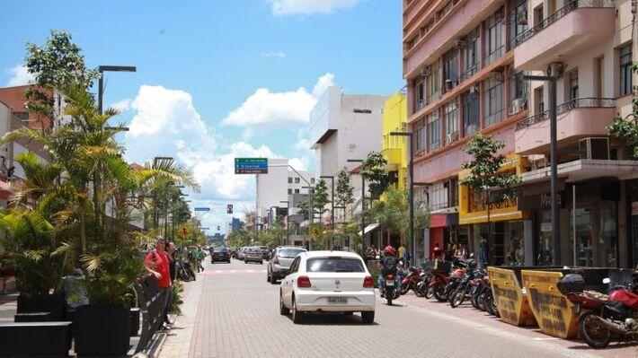 A Rua 14 de Julho no Centro de Campo Grande
