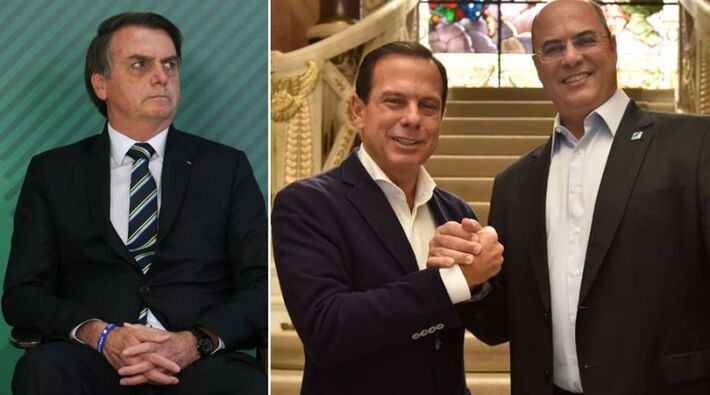 Jair Bolsonaro, governador do Rio de Janeiro, Wilson Witzel; goverador de São Paulo João Dória                     e