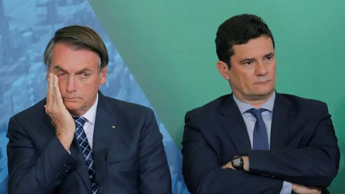 O presidente Jair Bolsonaro e o ex-ministro da Justiça e Segurança Pública, Sérgio Moro