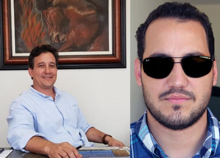 A esquerda o pré-candidato Jose Paulo Paleari e a direita, de óculos, Leandro Henrique Paleari