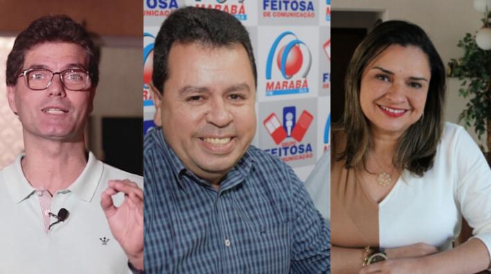 Os pré candidatos; ex-secretário Lenílson Carvalho (no centro da imagem), Giovana (DEM - a direita) e Calderan (PSDB)